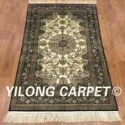 Yilong 3and039x5and039 500line Hand Knotted Tapestry Great Silk Carpet Garden Rug P035h