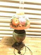 Vintage Gone With The Wind Hurricane Lamp Kerosene Electric Flowers Painted Hand