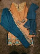 Asian Clothes Dress Womens Cream And Blue Uk S