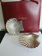 Vintage Pair Of Sterling Silver Shell Caviar Dishes