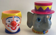Plastic Clown And Elephant Cups - Ringling Brothers And Barnum And Bailey Circus