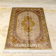 Yilong 4and039x6and039 Handknotted Silk Carpet Medallion Antique Indoor Area Rug Z391a