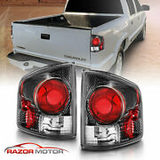 94-04 Chevy S10 Gmc Sonoma Carbon Black Rear Brake Replacement Tail Lights Pair