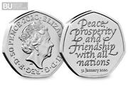 New 2020 Certified Bu Brexit 50p Coin Sealed On Card.