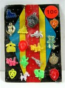 Monster Head 10 Cent Charms Toy Prizes Old Gumball Vend Machine Display Card 158