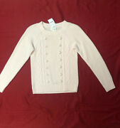 Crewcuts By J.crew, Youth Girls Cable Knit Pom Pom Sweater, Sz 12 Nwt Pale Pink