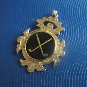 Early 9ct Rose Gold And Black Enamel Golfing Golf Fob Medal H/m 1898 Not Engraved