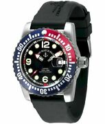 Zeno-watch Herrenuhr Airplane Diver Automatic Blue/red 6349-3-a1-47