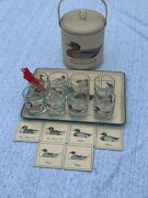 Vintage Georges Briard Duck Ice Bucket Low Ball Whiskey Glasses Tray ❤️sj17j