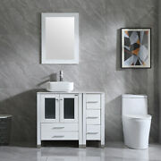 36bathroom Cabinet White Side Vanity Sink Ceramic Faucet Mirror Combo With Top