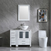 36 Bathroom Cabinet Side Vanity With Sink Ceramic Faucet And Mirror Combo New