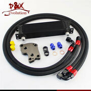 10an Oil Cooler Kit 10 Row Engine For Bmw Mini Cooper S R53 Supercharger Black
