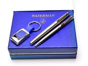 Waterman Hemisphere Brushed Stainless Steel Fountain And Ballpoint Pen In Gift Box