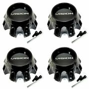 4x Vision Wheel Center Caps Gloss Black Aluminum Logo 66.5mm H 416 Seven/se7en