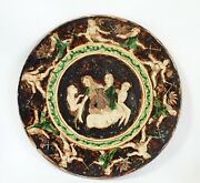 Large Fine Antique Indian Pottery Plaque / Wall Plate - Signed - C.1900