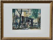 Back Yards Watercolor On Paper, Signed Lower Right A P Martino