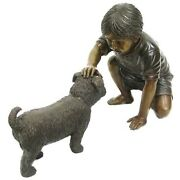 Boy With Dog Cast In Bronze
