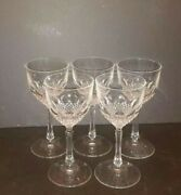 Vintage Peill And Putzler Claret Glasses 7 Tall Lead Crystal Hand Cut Germany X 5
