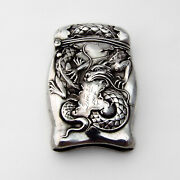 Dragon Match Safe Unger Bros Sterling Silver 1904 Christmas Mono Etc