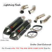 For Ducati 696 795 796 848 1098 1100 1198 Motorcycle Exhaust Pipe Slip On L And R