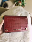 ❤nwt Jet Set Small Full Flap Embossed Leather Crossbody Brandy Red