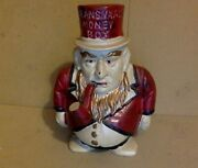 Vintage Cast Iron Bank. Ransvaal Money Box Man. 6 Tall. Red, Black And White.