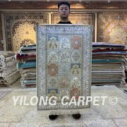 Yilong 2.5and039x4and039 Hand Knotted Silk Area Rug Four Seasons Antistatic Carpet H171b