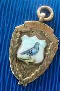 Super 9ct Rose Gold And Enamel Pigeon Fob Medal / Pendant 1921 - Not Engraved