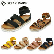 Dream Pairs Women Open Toe Wedge Sandals Elastic Ankle Strap Casual Sandal Shoes