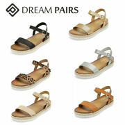Dream Pairs Women's Espadrille Wedge Sandals Ankle Strap Open Toe Casual Shoes