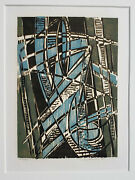 Werner Drewes Original Pencil Signed Color Woodcut 1974 Caught In The Web Rare