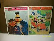 Lot Of 2 Vintage Frame Tray Puzzles - Sesame Street, Mickey Mouse Whitman