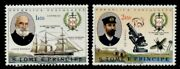 St Thomas And Principe 393-4 Mnh Navy Club Ships Microscope Teste Fly
