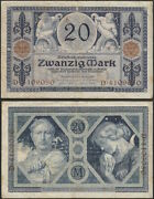 Germany - 20 Mark 1915 P 63 Europe Banknote - Edelweiss Coins .