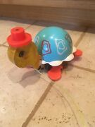 Vintage Fisher Price Tippy Toe Turtle 773 Pull Toy 1962 Working Bell