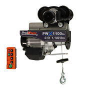 Prowinch 1/2 Ton Electric Wire Rope Hoist With Electric Trolley 1000 Lb Load Cap