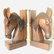 Vintage Mid Century Mexican Hand-carved Wood Large 3d Horse Head Bookends