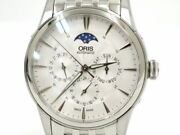 Oris 781 7703 4051m Waterproof Stainless Steel Silver Menand039s Watch Excellent+++