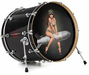 Skin Decal Fits 24 Bass Kick Drums Missle Army Pinup Girl