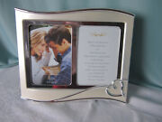 Lenox Forevermore Invitation Double Photo Frame 5 X 7 Silverplated Heart Nos