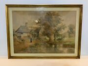 Antique Cottage House W/ Woman And Baby Framed Watercolor Signed Albert E. Bowers