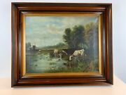 Ant 19th Century Oil Painting Of Cows On Canvas With Victorian Deep Well Frame