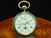 Large Iron Open Face Pocket Watch Complete Calendar Moon Phase/diameter 661 Mm