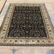 Yilong 4.5and039x6.5and039 Antique Handmade Carpets Dining Room Hand Knotted Silk Rug 203a