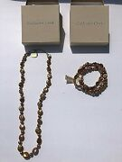 Bronze Cultured Coin Pearl Necklace + Bracelet Jewelry Set Great Gift New