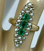 Victorian 14k Yellow Gold Emerald Navette Ring 1880and039s Antique Ring