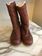 Hush Puppies Vintage 1970's Youth Girl Boots Leather Upper Size 5.5 Made In Usa
