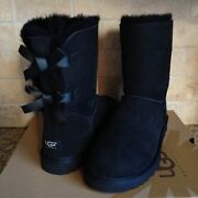 Ugg Short Bailey Bow Black Suede Sheepskin Boots Size Us 4 Youth Kids = Womens 6