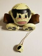 Vintage Briere Style Folk Art Holstein Cow Ball And Wheel Cart Pull Toy