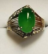 14k Yellow And White Gold Diamond Apple Green Translucent Ring
